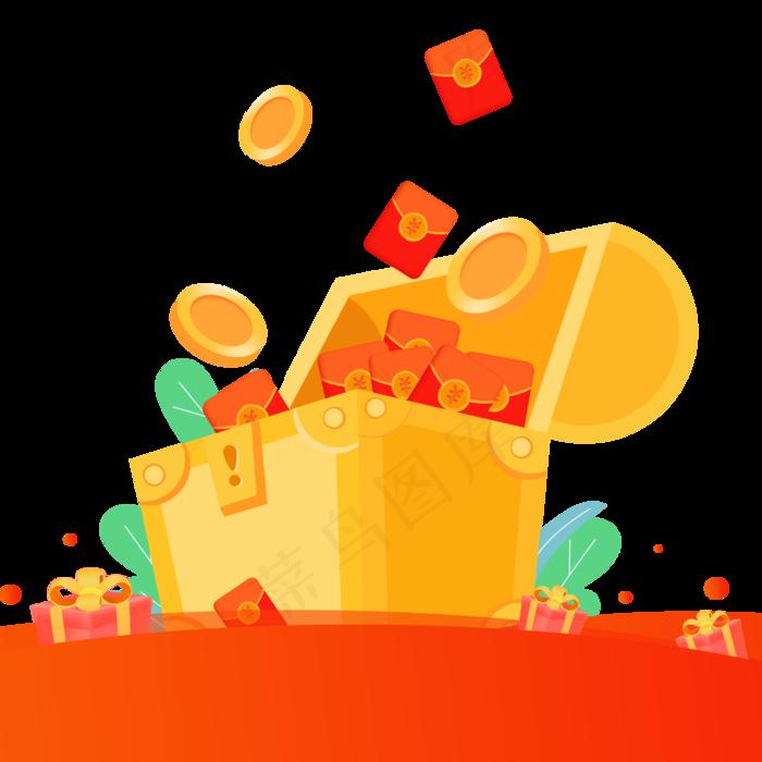 一个装满钱的箱子免抠图,免抠元素手绘卡通(2000*2000px)psd模版下载