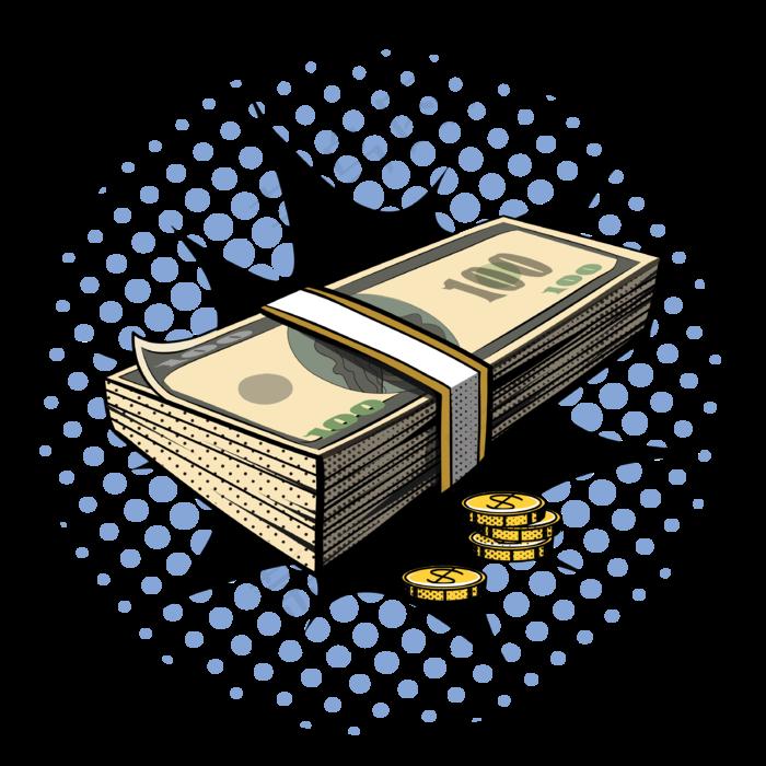 复古波普风美元外币装饰元素(3333*3333px 300 dpi )ai矢量模版下载
