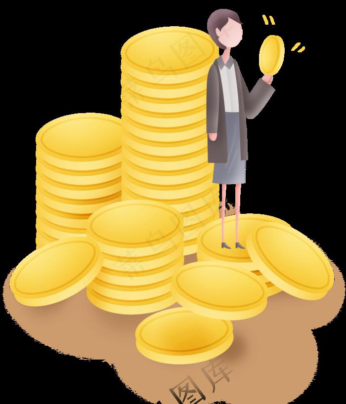 黄金储蓄金币堆和投资者装饰元素(2000X2336(DPI:299))psd模版下载