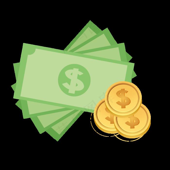 手绘绿色纸币和金币装饰元素(2500X2500(DPI:300))psd模版下载