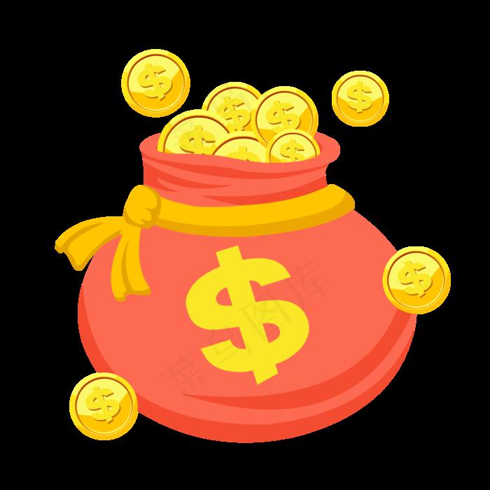 金币袋子钱币袋装饰元素(2000*2000px 300 dpi )ai矢量模版下载