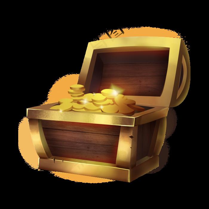 手绘金币宝箱免扣图标装饰元素(2000X2000(DPI:300))psd模版下载