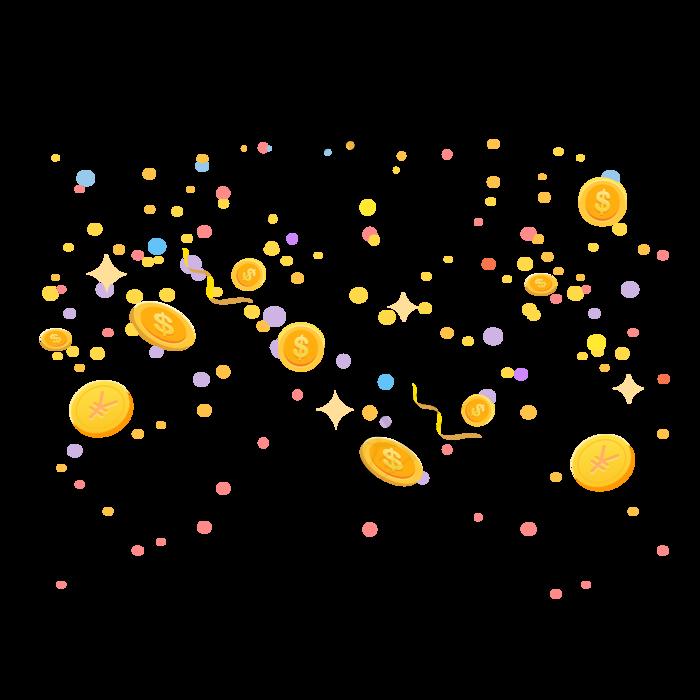 金币漂浮,免抠元素漂浮元素(2001*2001px 300 dpi )ai矢量模版下载