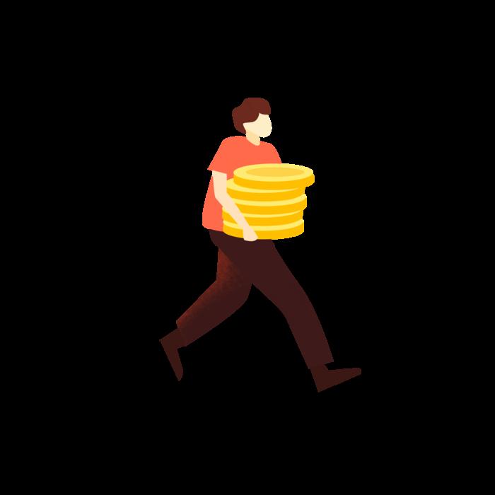 卡通搬着金币的人,免抠元素手绘卡通(2000*2000px 300 dpi )psd模版下载