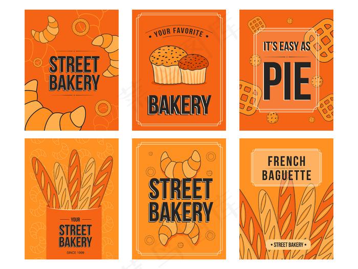 烘烤宣传单,DM传单。羊角面包、松饼、面包插图,橙色背景上有文字。eps,ai矢量模版下载